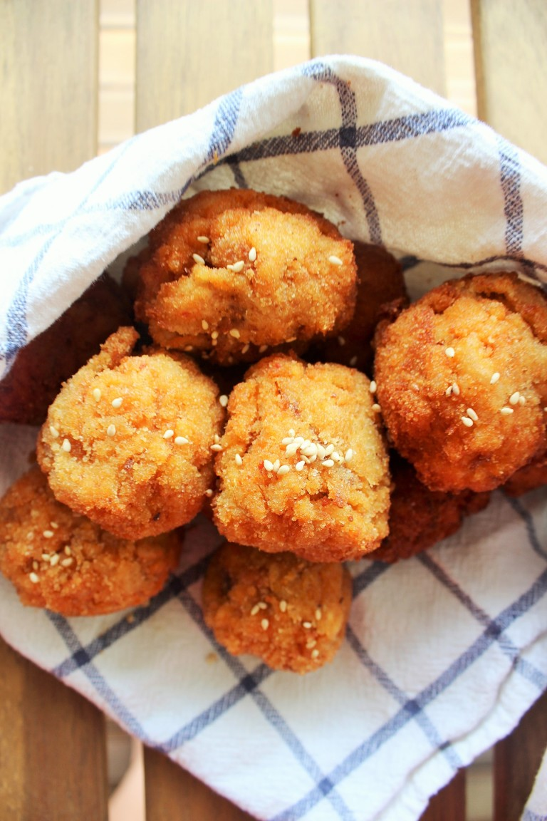 Fried Bokkembap Balls - Fried Green Kimchi