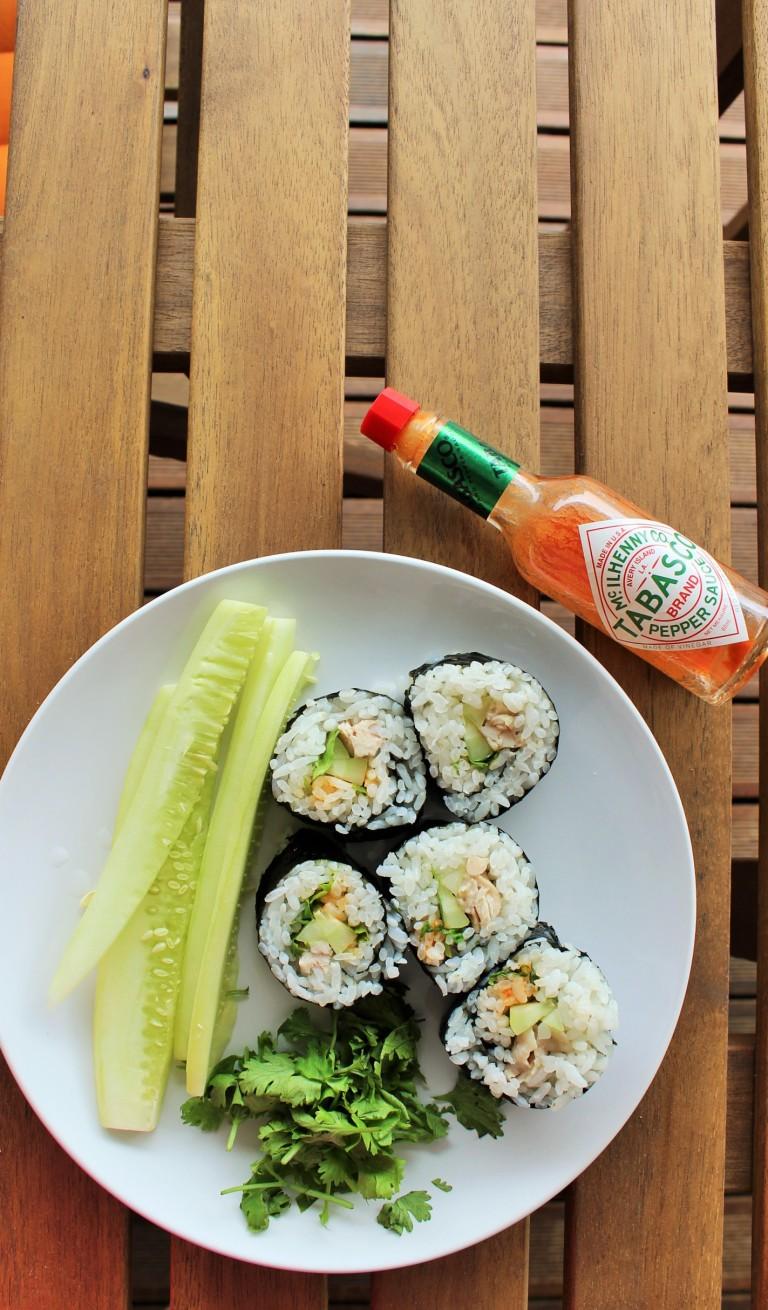 Chicken Rice Kimbap - Fried Green Kimchi (3)