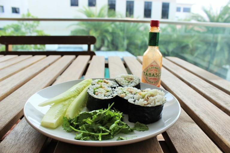 Chicken Rice Kimbap - Fried Green Kimchi (4)