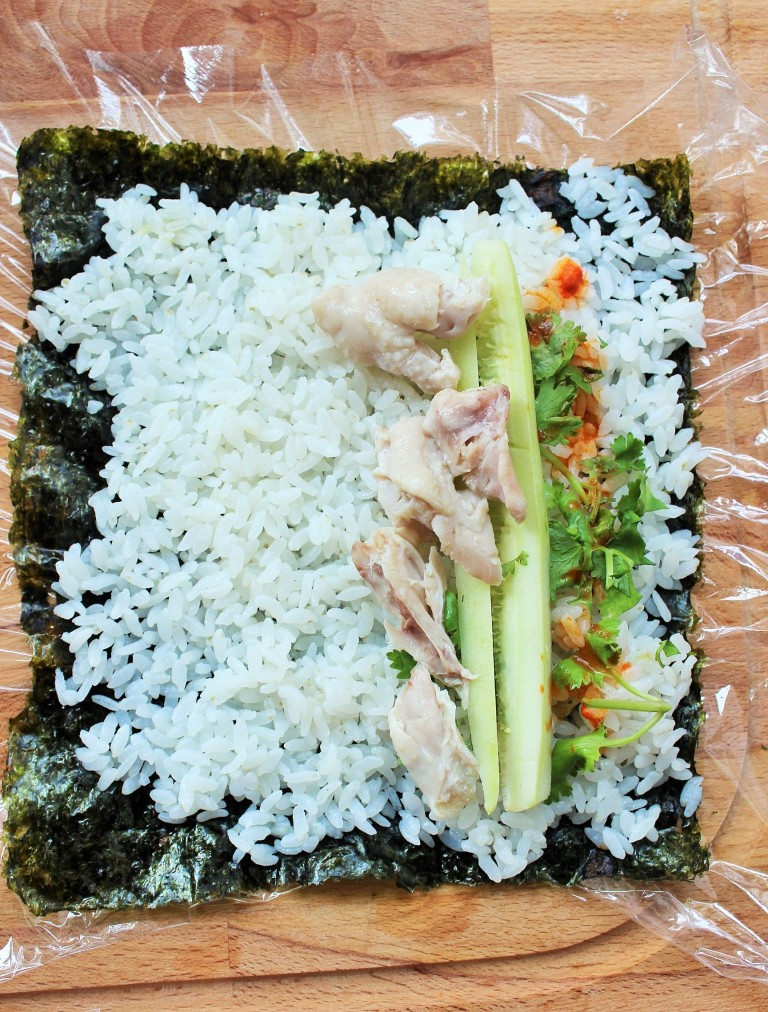 Chicken Rice Kimbap - Fried Green Kimchi